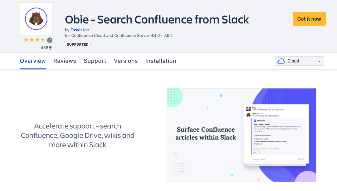 Obie Search Confluence from Slack Atlassian Marketplace