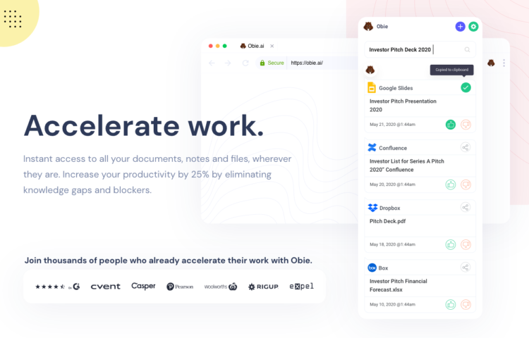 Accelerate work with Obie