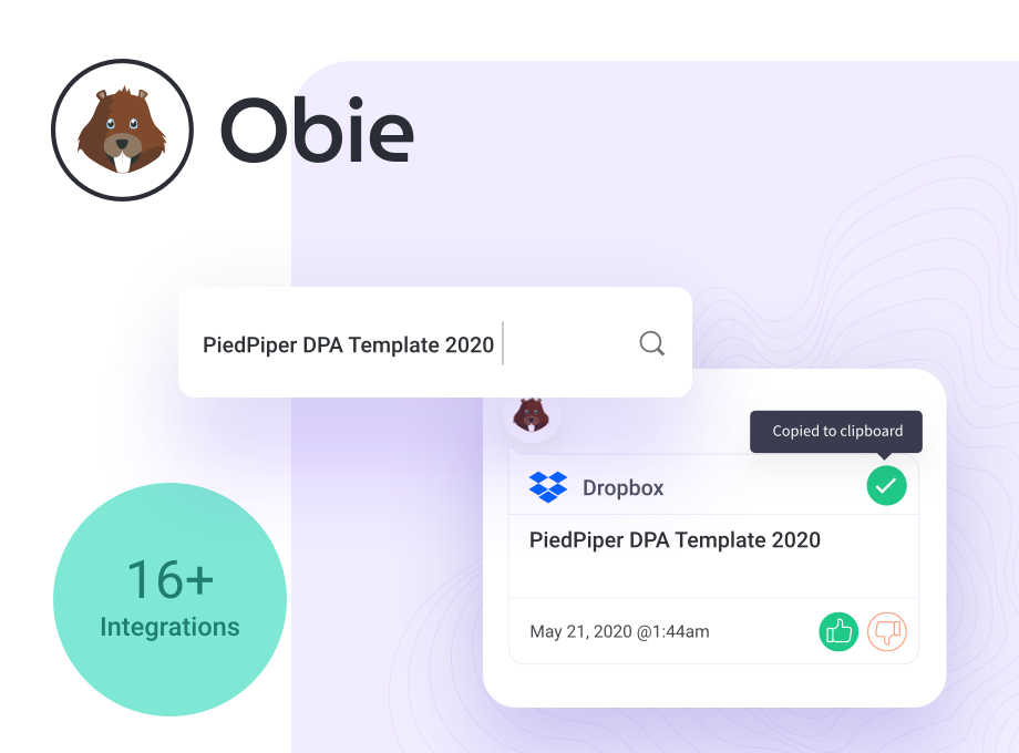 Obie search integrations - Google Drive, Dropbox, Confluence
