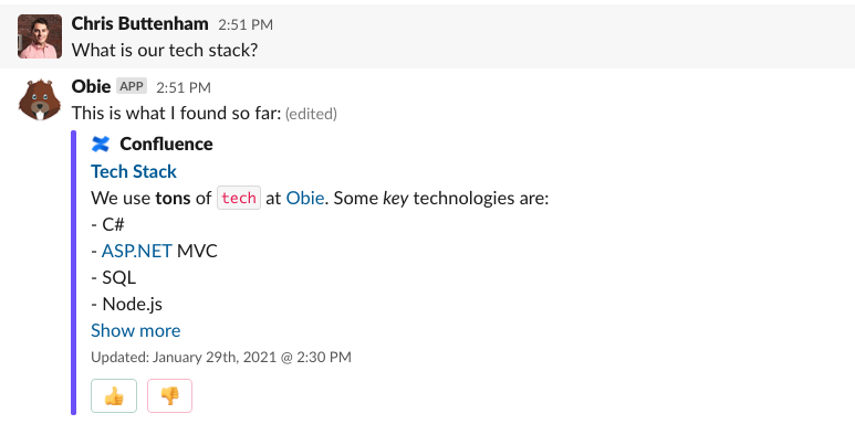 Obie intelligent previews from Confluence in Slack